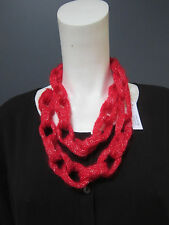 MARTIN MARGELA wool necklace  NEW with TAG, red & silver