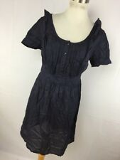 Asos 6 Dress Navy Blue Button Front Top Ruffle Tie Back Short Sleeve Sheer R4P