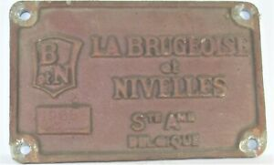 Original Waggonschild La Brugeoise et Nivelles Ste Ame Belgique 1966
