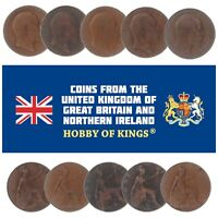 LOT OF 10 GREAT BRITAIN UNITED KINGDOM 1 PENNY COINS, KING EDWARD VII 1902-1910