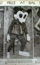 1933 newspaper with photo of earliest Walt Disney MICKEY MOUSE CHARACTER COSTUME
