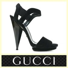Gucci $795 'Liberty' black suede ankle stap sandals~37