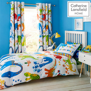 Kids Dinosaur Duvet Set Reversible Bedding Curtain Bed Sheet Catherine Lansfield