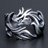 Mens Silver Stainless Steel Targaryen Dragon Rings Fashion Punk Band Ring