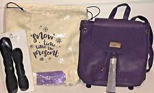 Monat LOT Purple Backpack Mini Tote Bag Purse, 2 Foam Bun Holders & Fabric Bag