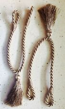 2 Lovely Corded Twisted Curtain Tie Backs tassled taupe light brown