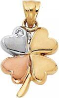 Good luck clover 14k Gold Pendant YELLOW Rose White Tri Charm Flower Heart Love
