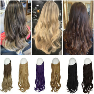 Fish Line Headband  Long Hairpiece Invisible Wire Hair Extensions Women Party US