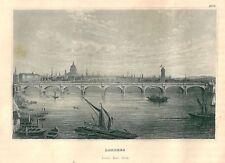 1840ca LONDON veduta d'epoca originale acquaforte Londra