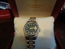 Rolex Ladies Datejust 18K Gold & Steel Two Tone Black Diamond Dial