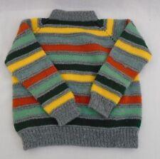 Vintage Handmade 1970's Striped Mock Neck Long Sleeve Knit Sweater Boys Size 4-5
