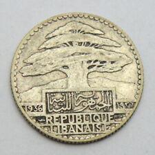 LIBAN LEBANON 25 PIASTRES 1936 OLD SILVER COIN