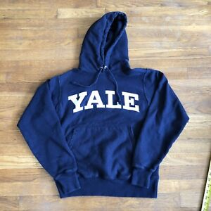 Yale Ivy League University Champion Reverse Weave Hoodie Sweatshirt Blue Small