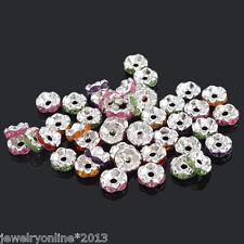 100 Mix Versilbert Strass Rondelle Spacer Perlen Beads Top