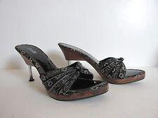 """Carla Barcelona Charcoal Gray 4"""" Heels Open Toe Clogs SlipOn Women US 9M, FR 40"""