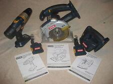 """Ryobi Set of 3 Cordless 18v 1/2"""" Drill, 5 1/2"""" Circular saw, Corner Cat Sander"""