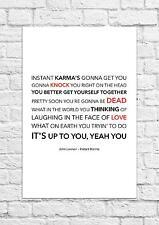 John Lennon - Instant Karma - Song Lyric Art Poster - A4 Size