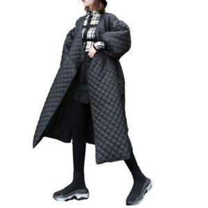 Oversize Quilted Cotton Coat Womens Winter Retro Lantern Sleeve Long Outwear L