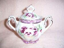 Betty Platner Decorated Sugar Bowl Porcelain Treasures Sugar Bowl Pansy Purple