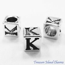 LETTER K 925 Solid Sterling Silver ALPHABET 7mm BLOCK BEAD 5mm Hole Diameter