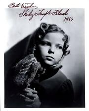 P068 SHIRLEY TEMPLE signed 8x10  still '88 pensive portrait