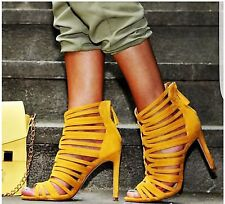 BNWT ZARA en cage Jaune Moutarde Talon Haut Sandales sold out UK 6 EU 39 US 8