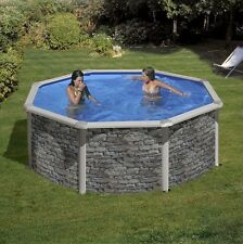 Aqua World Above Ground Stone Effect Swimming Pool, 8ft x 4ft Round