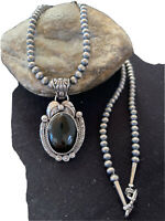 NWOT Pendant Native Navajo Pearls Sterling Silver Black Onyx Bead Necklace 01308