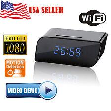 Full HD 1080P WiFi IP Hidden Spy Camera Alarm Clock Radio Motion Detection DVR