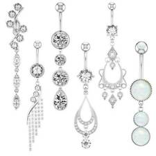 14G Stylish CZ Dangle Belly Button Rings Navel Bar Barbell Body Piercing Jewelry