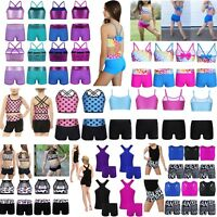 Kids Girls Crop Tops+Shorts Tankini Vest Gymnastics Swim Dance Ballet Leotards
