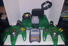 Nintendo 64 N64 Jungle Green System 2 controllers + Transfer,Force+3 Rumble Paks