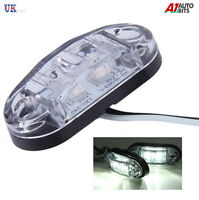 10 pcs Clear White 24v 2 Led Side Front Marker Lamps Lights Truck Lorry Dot