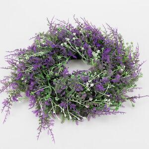 30cm Large Artificial Faux Lavender Heather Meadow Flower Door Wreath Decor UK