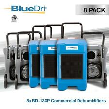 8 Pack BlueDri Bd-130P 225 Ppd High Performance Commercial Dehumidifier, Blue