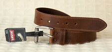 Men's LEVI'S Belt GENUINE LEATHER Brown Stitched Edge 30 - 32 Small Levis NWT