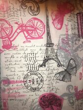 Eiffel Tower And Bycicles On White Fabric Scrap Quilt Sew