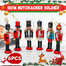 6PCS Wooden Nutcracker Doll Soldier Christmas Ornaments Small Tree Hanging