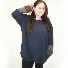 NEW Margaret Winters Crunchy Cotton Double Cuff Shirt Sweater Blouse in Navy 1X