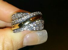 Two Tone Ring Sterling Silver & 9K Gold Size P1/2 hallmarked SAME DAY SHIPPING