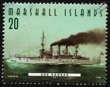 USS KANSAS (BB-21) Connecticut Class Battleship Warship Stamp (1997)