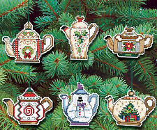 Cross Stitch Kit ~ Janlynn Set of 6 Christmas Teapot Ornaments #021-1486