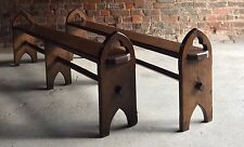 Bench Stools Benches Antique Gothic Pugin Pair Solid Oak Victorian Circa 1870