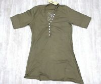 NEW Da-Nang Surplus Blouse/ Top Light Knit Henley BRONZ CFG2096 X-SMALL XS