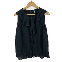 Armani Jeans Womens Top Size 8 US (AU 10) Black Sleeveless Frilly Front