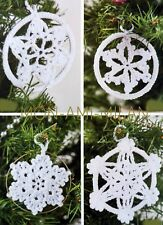 Crochet Pattern LACY SNOWFLAKES Christmas Tree Ornaments Xmas Decorations Trim