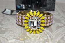 NIB $395 RODRIGO OTAZU Lavendar Citrine DNA Cut Crystal Hinged Bangle Bracelet