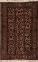 Geometric Oriental Hand-Knotted Balouch Afghan Area Rug Home Decor Carpet 3'x4'