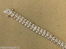 Lady's Women's Rhodium Plated Tennis Bracelet Channel Set CZ's 7.5 inches Long