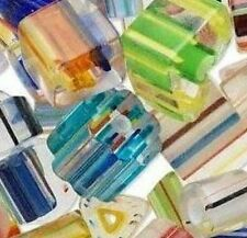 30* Mixed Multicolored Furnace Cane Art Glass Beads